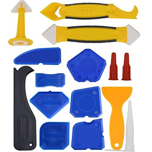 Mengger Strumento di Sigillante Finitura Raschietto di rimozione Silicone Calafataggio Levigante 15 pezzi kit set per Cucina Bagno Piano Sigillante di Tenuta strumenti