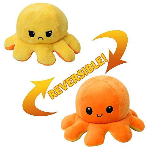 Peluche de Pulpo Reversible Pequeños, Muñecos Lindos de Doble Cara, Juguetes de Pulpo de Felpa para Niños (Amarillo-Naranja)