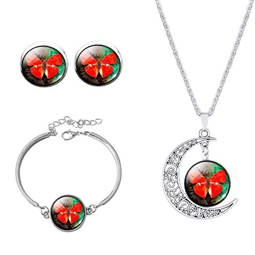 European and American Popular Time Gemstone Set Alloy Bracelet Butterfly Set Series 15 Necklace Jewelry-10