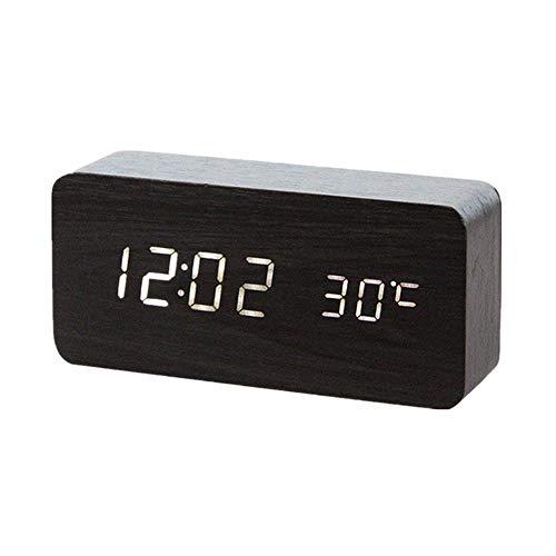 3 allarmi Separati e luminosit/à a Regolazione Automatica Orologio a cubo LED con Display della Data Sveglia in Legno USB//Alimentato a Batteria Sveglia Digitale Controllo vocale per camere da