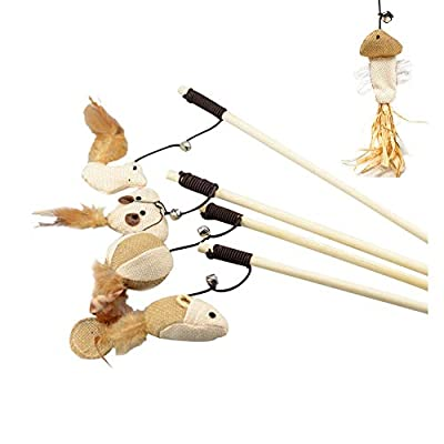 KYUEE Cat Toy Feather, Interactive Cat Toy Set | 5 Natural Wooden Sticks, 5 Different Plush Toys, Natural Feathers, Plush Toys and Elastic Rope