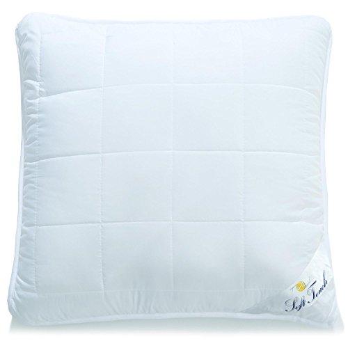 aqua-textil Soft Touch Kopfkissen 80 x 80 cm Mikrofaser Nackenkissen Hohlfaser Kissen Kochfest atmungsaktiv