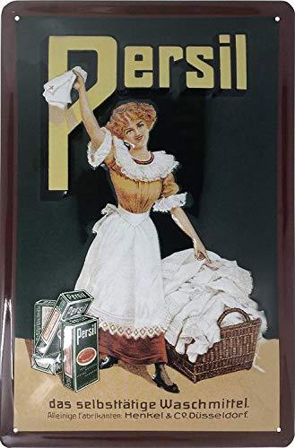Persil Dame Retro Reklame, hochwertig geprägtes Blechschild, Werbeschild, Türschild, Wandschild, Dekoration, 30 x 20 cm