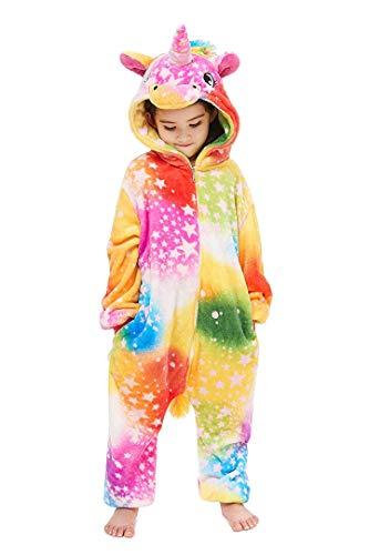 Silver Basic Niños Unicornio Onesie Pijama Franela Cosplay Disfraz Niños Niñas Mujer Kigurumi Animales Franela Monos Unisex-Adulto Ropa de Dormir XL,Estrella del Arco Iris-2