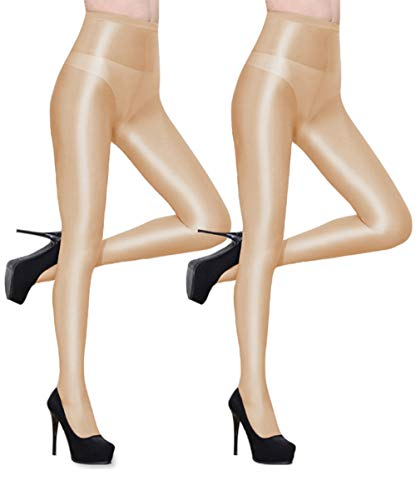 Abberrki Women Sexy Dance Tights Shaping Oil Socks Shiny Silky Sheer Pantyhose - 2 Pairs (Nude 2 Pairs)