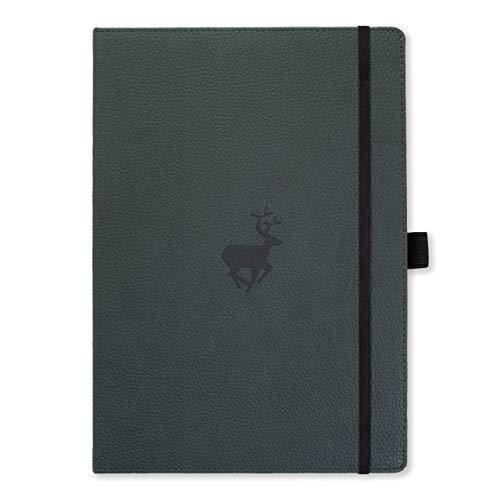 Dingbats D5102G Wildlife A4+ Hardcover Notizbuch - PU-Leder, Mikroperforiert 100gsm Creme Seiten, Innentasche, Gummiband, Stifthalter, Lesezeichen (Kariert, Grüne Hirsche)