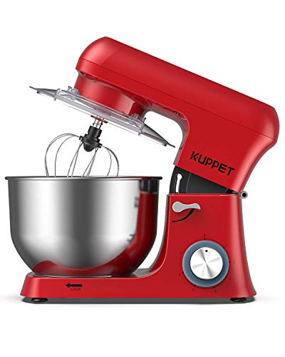 Stand Mixer, KUPPET Stainless Steel Mixer 6.5-QT, kitchen Mixer 6-Speeds Tilt-Head Food Mixer with Dough Hook, Wire Whip & Flat Beater, Splash Guard for Home Cooks Electric Mixer, Red