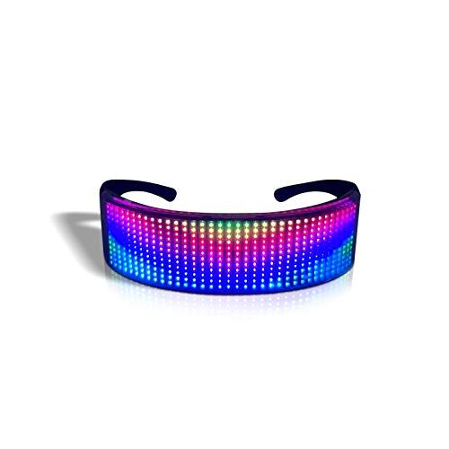 KEBEIXUAN LED Brille Vollfarben Leuchtgläser Anpassbaren Mustern USB-Aufladung, Bluetooth-Steuerung Gelten Karnevalspartys, Nachtclubs, Musikfestivals, Partyzubehör (Vollfarbbrille)