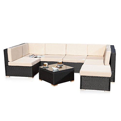Melko Poly Rattan Sitzgruppe Gartenset Rattanlounge Gartengarnitur Couch-Set Sitzgarnitur mit Schraub-Ausgleich-Standfüße