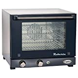 Cadco OV-003 Compact Quarter Size Convection Oven with Manual Controls, 120-Volt/1450-Watt, Stainless/Black