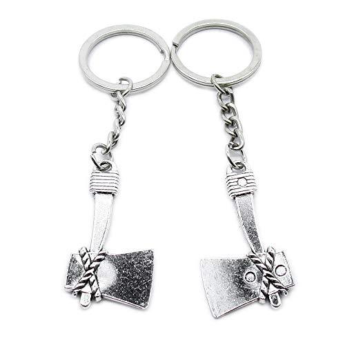 Antieke Zilveren Toon Sleutelhanger Sleutelhanger Sleutelhanger AA4619 Ax Bijl Hatchet Sleutelhanger Ring Tag Sieraden Maken Bedels Antiek Zilver