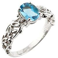 [アトラス] Atrus リング レディース 10金 ホワイトゴールドk10 ブルートパーズ ダイヤモンド 大粒 指輪 11月誕生石 ストレート 宝石 5号