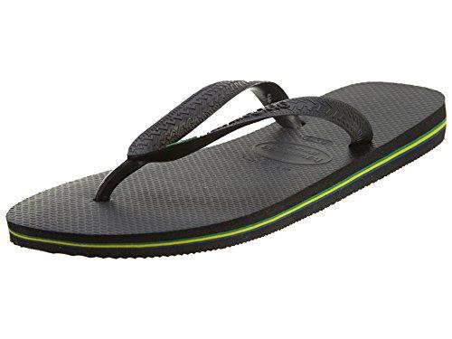 Havaianas Women's Brazil Flip Flop Sandal, Black,39/40 BR (9-10 M Women's/ 7-8 M US Men's)