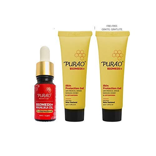 PURAO BIOMEDI+ Natürliche Manuka Honig Salbe Lippenbalsam 25ml (x1) + Manuka Öl konzentrieren 10ml (x1) - Holen Sie sich eine andere Salbe gratis!