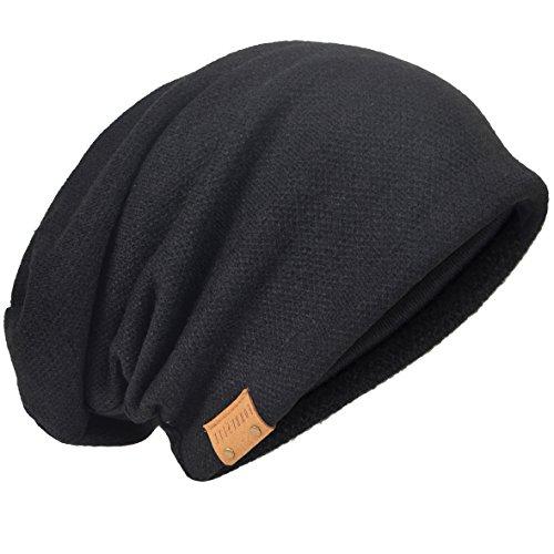 Übergroße Herren Strickmütze Baggy Slouchy Schädel-Kappe Mütze B011s (010b-Schwarz)