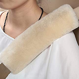 2 PCS Authentic Sheepskin Auto Seat Belt Cover Shoulder Seatbelt Pad for Adults Youth Kids Toddlers - Car, Truck, SUV, Airplane,Camera Backpack Straps - High Density Soft Australian Wool (Pearl)