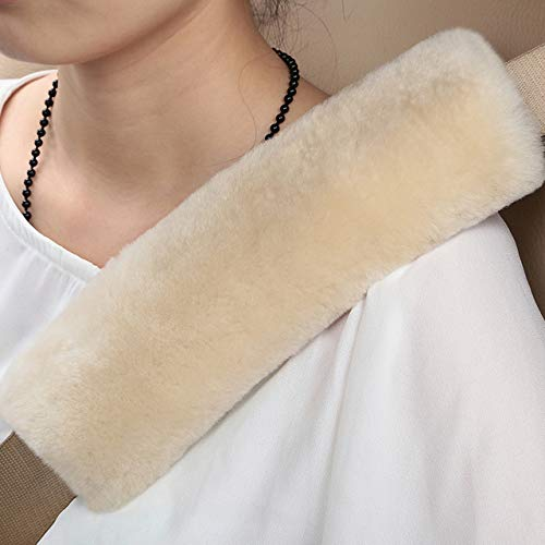 Diagtree 2 PCS Authentic Sheepskin Auto Seat Belt Cover Shoulder Seatbelt Pad for Adults Youth Kids Toddlers - Car, Truck, SUV, Airplane,Camera Backpack Straps - High Density Soft Australian Wool