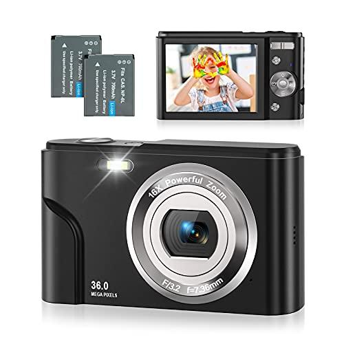 Rosdeca Digitalkamera, 1080P HD Fotokamera 36MP 2,4 '' LCD Kompaktkamera Wiederaufladbare Kamera Digital mit 16X Digitalzoom-Kamera für Studenten/Erwachsene/Kinder/Anfänger