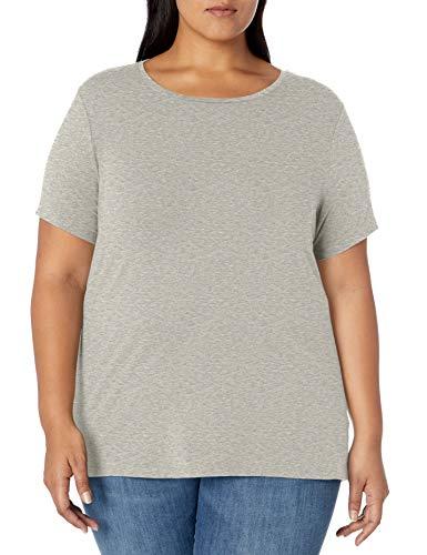 Amazon Essentials Plus Size Short-Sleeve Crewneck T-Shirt Fashion-t-Shirts, Gris Claro, 1X