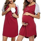 Sykooria Camisón de Maternidad para Mujeres Ropa de Dormir de Lactancia Camisón de Manga Corta de enfermería