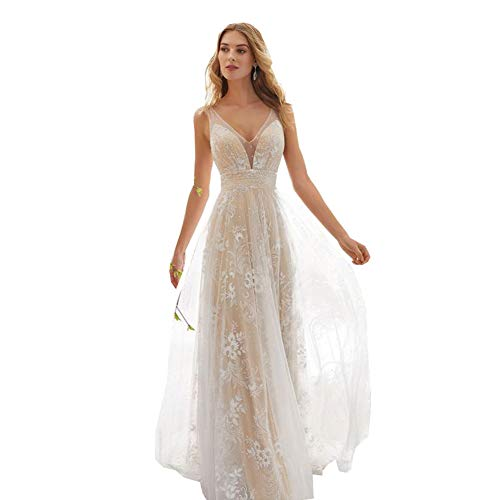 Weiß Hochzeitskleid Damen Lang Brautkleider Elegant Spitze Brautmode RüCkenfrei Abiball Prinzessin Kleider Abendkleider Elegant FüR Hochzeit...