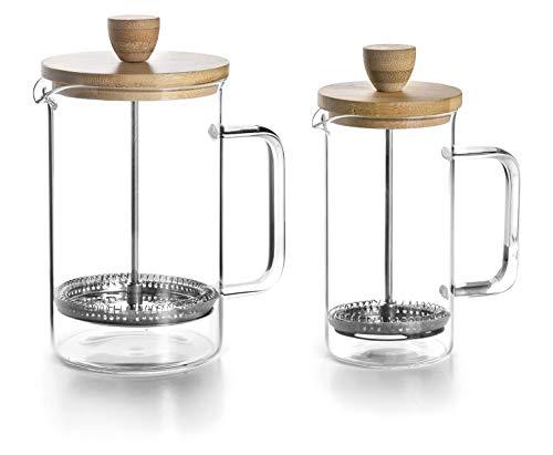Lacor 62168 Kaffeemaschine Francesa Wood, 6 Tassen, 0'80 l, Edelstahl 18/10