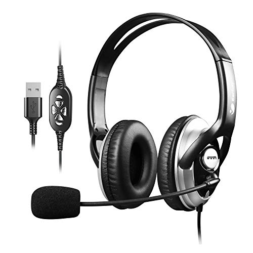 Over Ear Headphones Wired USB Headset with Microphone Noise Canceling, Smartphone PC Over Ear Headset for School Office Home Call Center Headset Binaural
