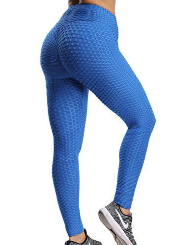 FITTOO Leggings Push Up Mujer Mallas Pantalones Deportivos Alta Cintura Elásticos Yoga Fitness Azul XS