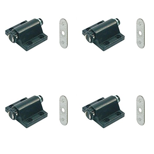 Magnetic Pressure Push to Open Touch Latch Kitchen Cabinet Doors Catches + Plate x4