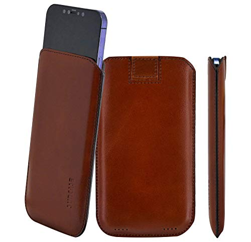 Suncase Original Leather Case Compatible with iPhone 12 Pro (6.1 Inches) Ultra Slim Leather Case with Pull Tab in Mocha Brown