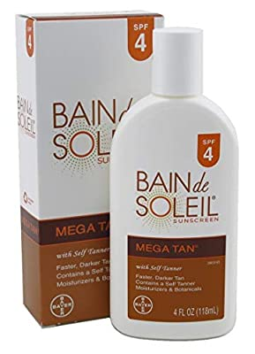 Bain de Soleil Mega Tan Sunscreen Lotion With Self Tanner, SPF 4 - 4 Oz (pack of 3)