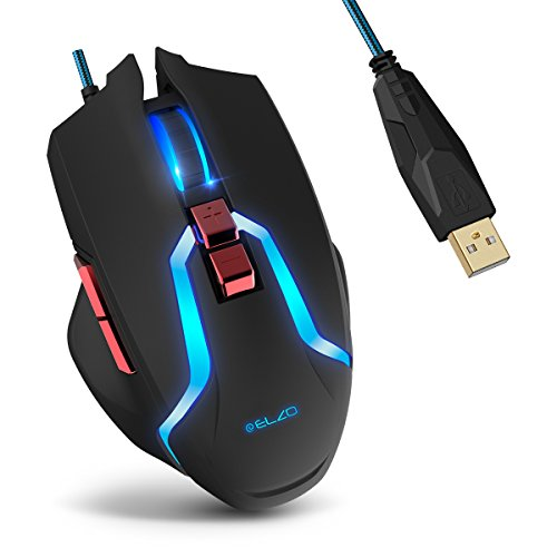 Gaming Mouse, ELZO Optical USB Wired Mice with 5 Adjustable DPI Levels, 7 Buttons and Breathing Light for PC, Laptop, Tablet, Computer and MAC