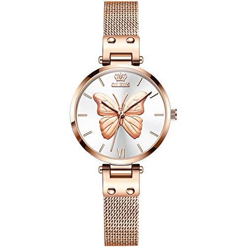 Allskid Mujer Relojes 3D En Relieve Mariposa Marcar Acero Inoxidable Malla Correa de Reloj Cuarzo Relojes de Pulsera