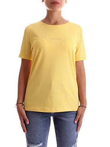 Calvin Klein Damen T-Shirt 3D METALLIC Logo Gelb M