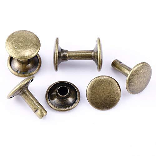 Anladia 100 Set Leder Nieten Doppelkappe Bronze 10mm für DIY Lederhandwerk Reparaturen Dekoration