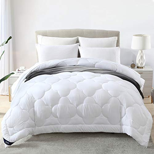 EXQ Home Comforter Queen Comforter Queen Size Comforter White Comforter Bed Comforter Washable 100% Microfiber Down Alternative Filling Cotton Shell All-Season Duvet Insert(Queen-88x88)