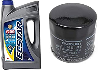 Suzuki ECSTAR V7000 10W-40 Marine 4-Stroke Engine Oil, 1 Gal with 16510-61A31 Oil Filter