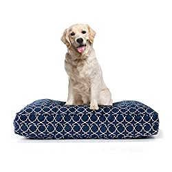 classic Pillow Dog Bed with 5-inch Thick Supportive Gel Enhanced Memory Foam - Made in the USA | 100% Cotton Removable Cover