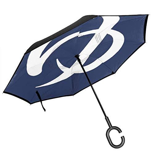 Großer, gerader, umgedrehter Regenschirm, 2-lagig, zusammenklappbar, Winddicht, UV-Schutz, Selbstständer, mit C-förmigem Griff im Inneren, japanischer, 50-Farbiger Kartendruck für das Auto Rain O