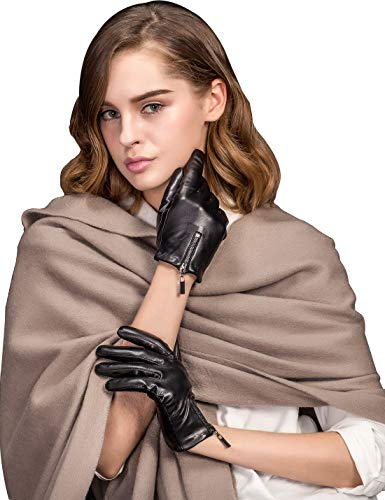 YISEVEN Guanti in pelle di agnello touchscreen donna polsini con zip e polsini riscaldati caldi per abiti da lavoro invernali moto da guida regalo, nero M