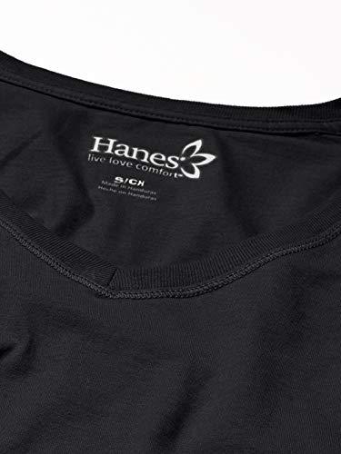 Hanes Women's V-Neck Long Sleeve Tee, Ebony, Large