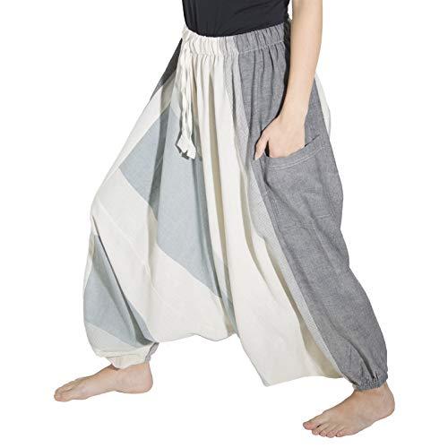 KUNST UND MAGIE Unisex Haremshose OneSize mehrfahrbig, Farbe:Weiß, Größe:One Size