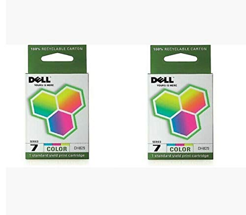 Dell DH829 Series 7 310-8375 330-0056 966 968 Ink Cartridge (Color, 2-Pack) in Retail Packaging