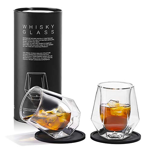 Whiskey Glasses Set of 2 - Hand Blown Double Walled Glass, Thick Rocks...