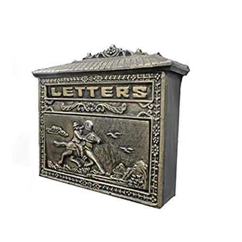 ZXN RTU Security Durable Pastoral Europeo-estilo Hierro Artesanía Montado en la pared Buzón de correo de hierro forjado Buzón de cartas Decoraciones