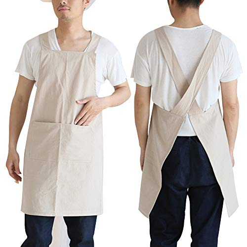 Amytalk Soft Cotton Linen Cross Back Kitchen Cooking Aprons for Women Men with Pockets for Baking Painting Gardening Cleaning Khaki S Size