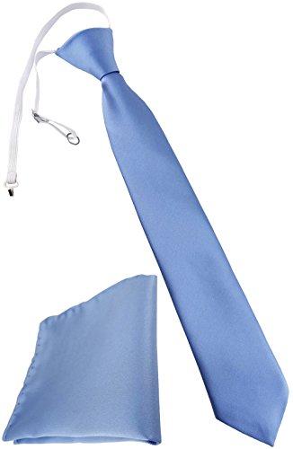 TigerTie Security Sicherheits Krawatte + Einstecktuch in blau hellblau Uni einfarbig - vorgebunden mit Gummizug