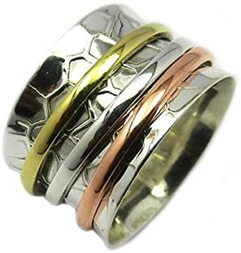 925 Max 63% OFF Quantity limited Sterling Silver Ring Three Tone Rin Worry Handmade