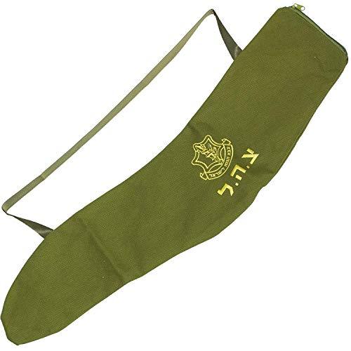 Jerusalem Yemenite Shofar Bag – IDF Hebräisch bestickte Tasche mit Tragegriff für Transport und Sicherheit Reißverschlüsse, 84 cm, Armeegrün