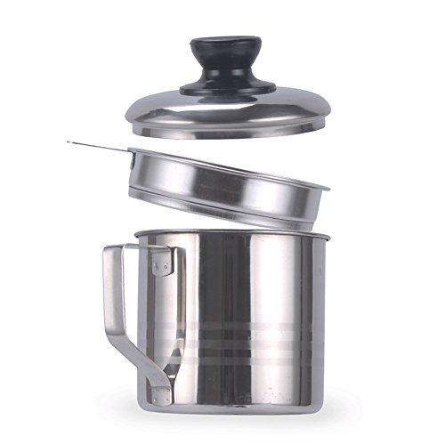 OnePine 1200ml Filtro del aceite del acero inoxidable, Filtro Aceite Oliva Cocina con Malla Fina Colador y Tapa